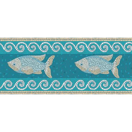 """שטיח PVC """"פסיספס דגים"""" - טורקיז"""