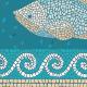 """שטיח PVC """"פסיספס דגים"""" - טורקיז - תקריב"""