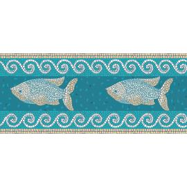 """ראנר PVC """"פסיספס דגים"""" - טורקיז"""