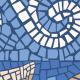 """ראנר PVC """"פסיספס דגים"""" - כחול - תקריב"""