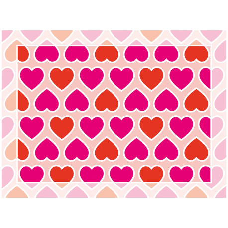 שטיח PVC לבבות אהבה ורוד ואדום