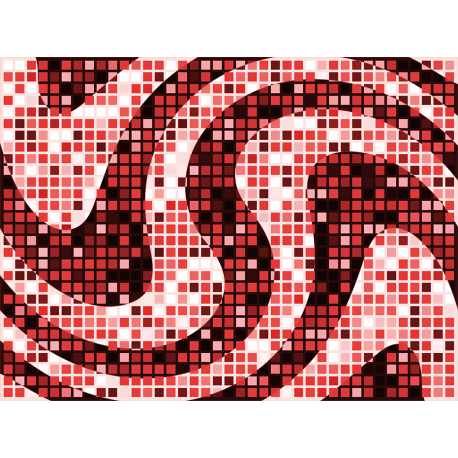 """שטיח """"פסיפס גיאומטרי"""" - גווני אדום 60 על 80 ס""""מ"""