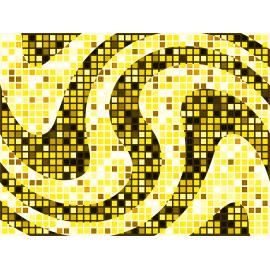 """שטיח PVC """"פסיפס גיאומטרי"""" - גווני צהוב"""