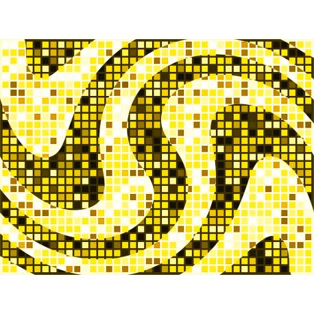 """שטיח """"פסיפס גיאומטרי"""" - גווני צהוב 60 על 80 ס""""מ"""