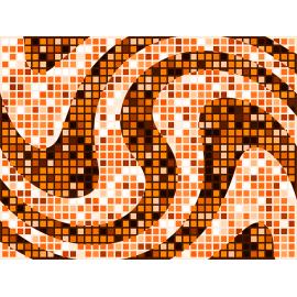 """שטיח PVC """"פסיפס גיאומטרי"""" - גווני כתום"""