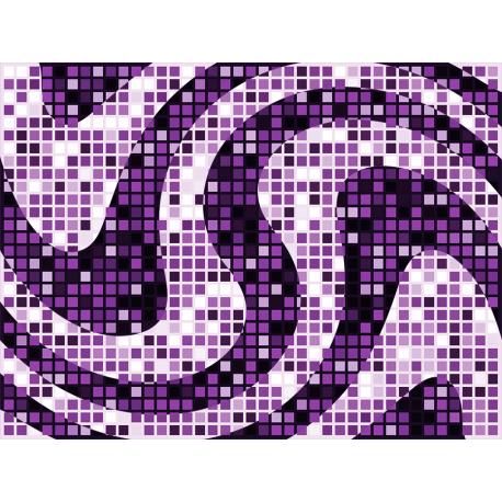 """שטיח """"פסיפס גיאומטרי"""" - גווני סגול 60 על 80 ס""""מ"""