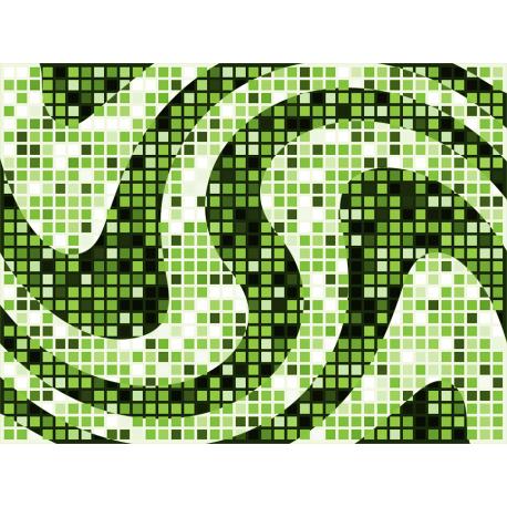 """שטיח """"פסיפס גיאומטרי"""" - גווני ירוק 60 על 80 ס""""מ"""